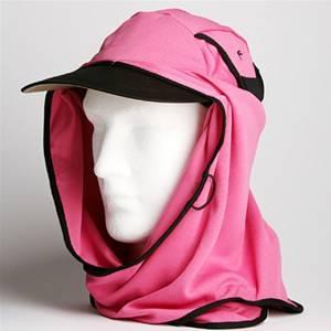日焼け防止・UVカットする帽子、紫外線保護指数UPF50+【フリルネックU.T.E. ポリエステルマイクロメッシュ】(ピンク/ブラック) - 拡大画像