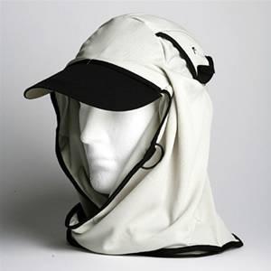 日焼け防止・UVカットする帽子、紫外線保護指数UPF50+【フリルネックU.T.E. ポリエステルマイクロメッシュ】(ボーン) - 拡大画像