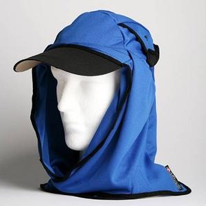 日焼け防止・UVカットする帽子、紫外線保護指数UPF50+【フリルネックU.T.E. ポリエステルマイクロメッシュ】(ロイヤルブルー) - 拡大画像