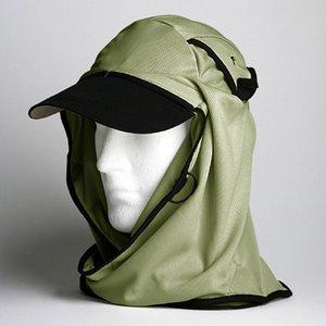 日焼け防止・UVカットする帽子、紫外線保護指数UPF50+【フリルネックU.T.E. ポリエステルマイクロメッシュ】(モス) - 拡大画像