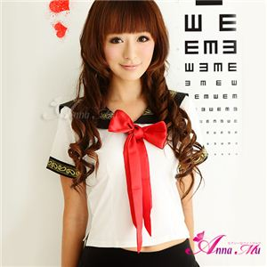新作 赤リボン女子高生セーラー服コスチューム2点セット/コスプレ/z420 - 拡大画像