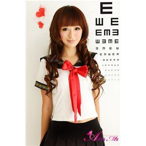 新作 赤リボン女子高生セーラー服コスチューム2点セット/コスプレ/z420