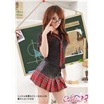 黒×赤チェック ミニスカ女子制服コスプレ/コスチューム/C249-1