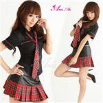 黒×赤チェック ミニスカ女子制服コスプレ/コスチューム/C249