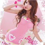 メイド風ピンクベビードール&Tバックセット/z124-1