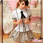マサキ コスプレ お嬢様系私立制服☆茶色チェックスクールガール☆学生服 z694