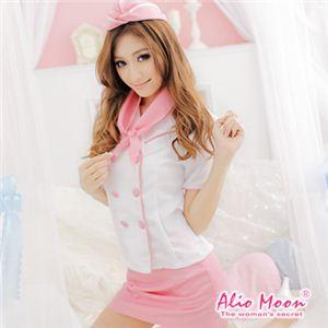 Alio Moon コスプレ ピンクのスチュワーデスコスチューム4点セット f370 - 拡大画像