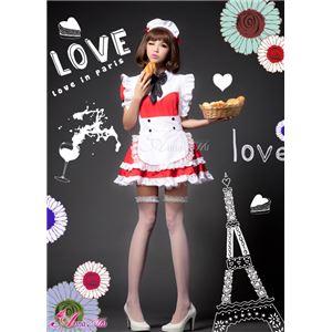 コスプレ メイド服 コスチューム 衣装 z1161 赤 白 - 拡大画像