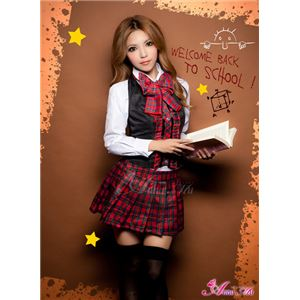 セーラー服 制服 女子高生 長袖 赤 チェック z1167 コスプレ 衣装 コスチューム - 拡大画像