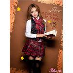 セーラー服 制服 女子高生 長袖 赤 チェック z1167 コスプレ 衣装 コスチューム