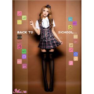 セーラー服 制服 女子高生 長袖 赤 紺 チェック z1171 コスプレ 衣装 コスチューム - 拡大画像