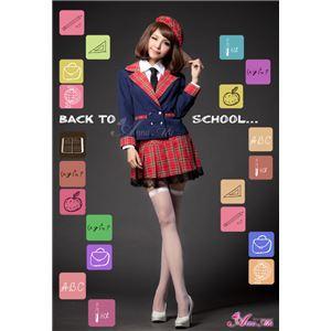 セーラー服 制服 女子高校生 紺 赤 チェック z1210 コスプレ 衣装 コスチューム - 拡大画像