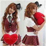 大人気!赤チェックのキュート女子高生制服コスチューム3点セット/コスプレ/z684