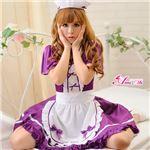 z1419 メイド服 コスプレ 紫 エプロン フリル コスチューム 衣装 仮装 コスプレ衣 の画像
