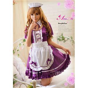 z1419 メイド服 コスプレ 紫 エプロン フリル コスチューム 衣装 仮装 コスプレ衣