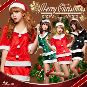 クリスマス☆サンタクロースコスプレセット/コスチューム/s020 s020bk カラー:ブラック - 拡大画像