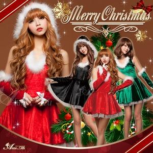 クリスマス☆サンタクロースコスプレセット/コスチューム/s025 s025bk カラー:ブラック - 拡大画像