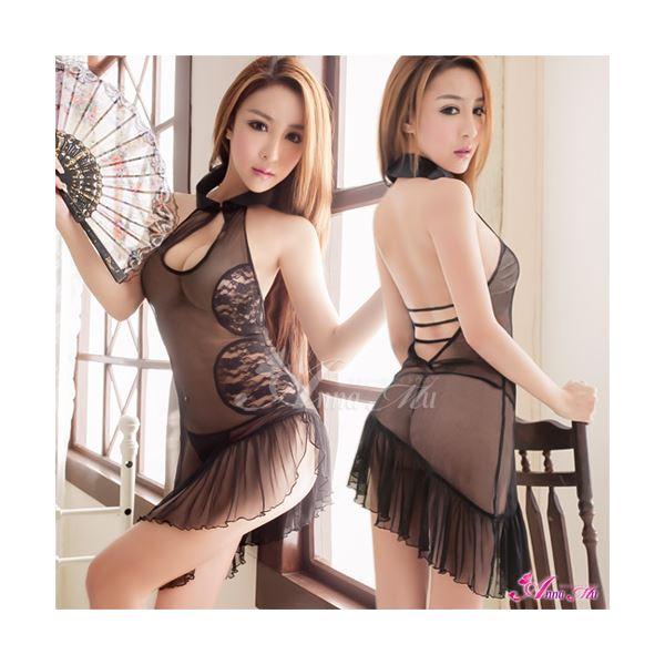 チャイナ服 シースルー チャイナドレス 黒 シースルー スケスケ エッチな z1525
