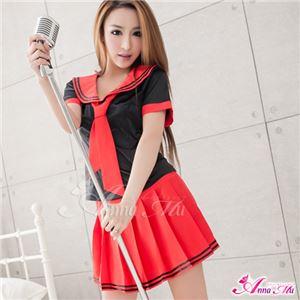 コスプレ 衣装 コスチューム セーラー服 制服 女子高生 ミニスカ z1531 赤 黒 - 拡大画像