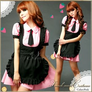 コスプレ コスチューム メイド服 メイド衣装 メイドコスチューム z677 ピンク - 拡大画像