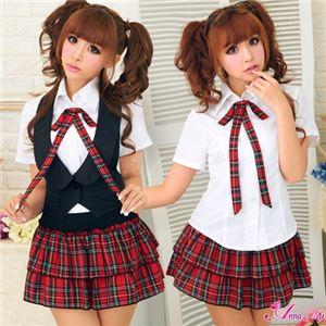 コスプレ コスチューム 女子高制服 制服 学生服 セーラー服 z6794点ブレザー 赤 チェック - 拡大画像