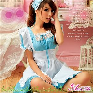コスプレ コスチューム メイド服 メイド衣装 メイドコスチューム エプロン ワンピース z681 青 - 拡大画像
