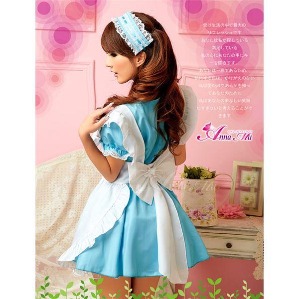 コスプレ コスチューム メイド服 メイド衣装 メイドコスチューム エプロン ワンピース z681 青
