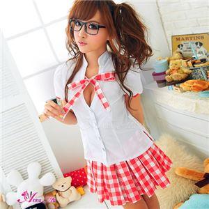 コスプレ コスチューム セーラー服 制服 女子高生 学生服 ミニスカ z980 赤 白 衣装 コスチュ - 拡大画像