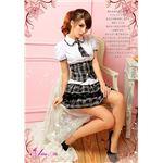 コスプレ コスチューム 女子高制服 制服 学生服 セーラー服 z670 チェック ブレザー4点 白 黒 z670 の画像