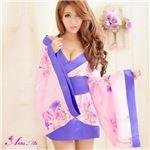 コスプレ コスチューム 着物 振袖 和服 和装 花魁 ブルーパープル ピンク 花柄 z977 和風コスチューム