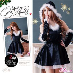 サンタコスプレ コスチューム ドレス ワンピース s025-bk 黒 ファーの写真1