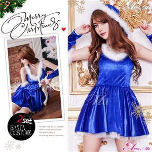 サンタコスプレ コスチューム ドレス ワンピース s025-bl 青 ファー - 拡大画像