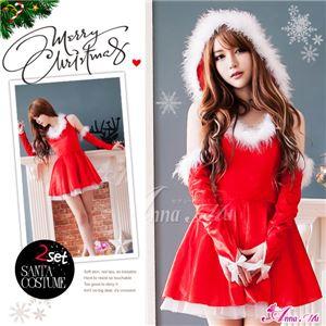 サンタコスプレ コスチューム ドレス ワンピース s025 赤 ファー - 拡大画像