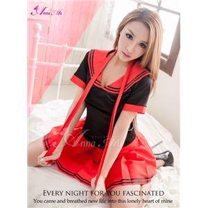 コスプレ 衣装 コスチューム セーラー服 制服 女子高生 ミニスカ z1531 赤 黒 の画像