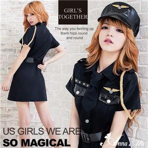 コスプレ コスチューム ポリス 警察 婦警 制服 仮装 スカート 黒 ポリス  の画像