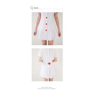 コスプレ コスチューム ナース ナース服 看護婦 衣装 制服 医者 女医 白衣 ミニワンピ 前開き 白コスチューム コス z1708 衣装 の画像