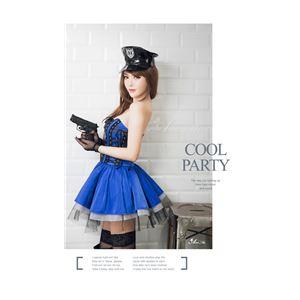 コスプレ コスチューム ポリス 警察 婦警 制服 仮装 スカート 青 ポリス の画像