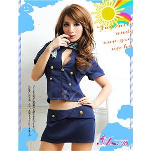 コスプレ コスチューム CA スチュワーデス 制服 z394 紺 の画像