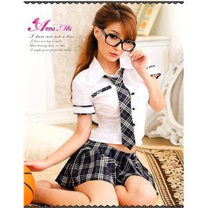 コスプレ コスチューム 女子高制服 制服 学生服 セーラー服 z451 紺 チェック - 拡大画像