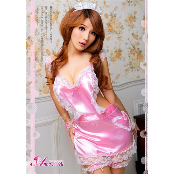 ピンクメイドエプロン z494 メイド服