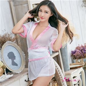 コスプレ ランジェリー コスチューム 着物 振袖 和服 和装 花魁 浴衣 白 ピンク C18 シースルー