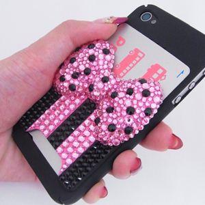 iphone4/4S用 スマートフォンケース カードホルダー付 プリンセスリボン - 拡大画像