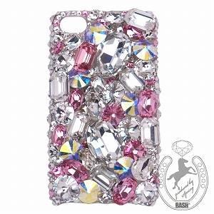 iPhone 4S/4 Case Big 3D Jewel クリスタル&オーロラ&Lローズ スマホカバービッグジュエル付き - 拡大画像