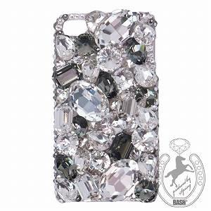 iPhone 4S/4 Case Big 3D Jewel クリスタル&ブラックダイヤ スマホカバービッグジュエル付き - 拡大画像