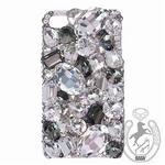 iPhone 4S/4 Case Big 3D Jewel クリスタル&ブラックダイヤ スマホカバービッグジュエル付き