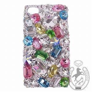 iPhone 4S/4 Case Big 3D Jewel スプリングカラーMix スマホカバービッグジュエル付き - 拡大画像