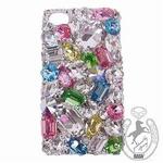iPhone 4S/4 Case Big 3D Jewel スプリングカラーMix スマホカバービッグジュエル付き