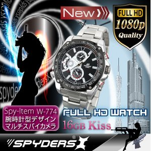 【防犯用】【超小型カメラ】 【小型ビデオカメラ】腕時計 腕時計型 スパイカメラ スパイダーズX (W-774) フルハイビジョン 動体検知 16GB内蔵 - 拡大画像