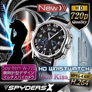 【超小型カメラ】 【小型ビデオカメラ】腕時計 腕時計型 スパイカメラ スパイダーズX (W-770B)ブラック H.264 1200万画素 16GB内蔵
