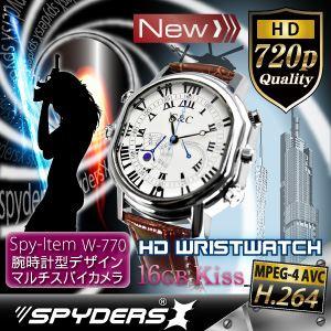 【超小型カメラ】 【小型ビデオカメラ】腕時計 腕時計型 スパイカメラ スパイダーズX (W-770W)ホワイト H.264 1200万画素 16GB内蔵